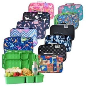 open lunchbox with food and lunchbags with different colours and patterns