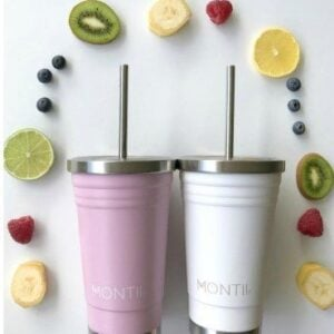 insulated smoothie cup pink and white