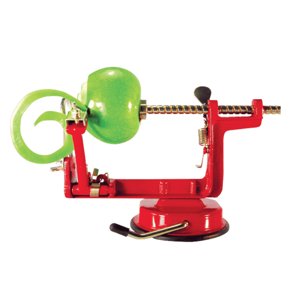 side view of a red apple peeling machine
