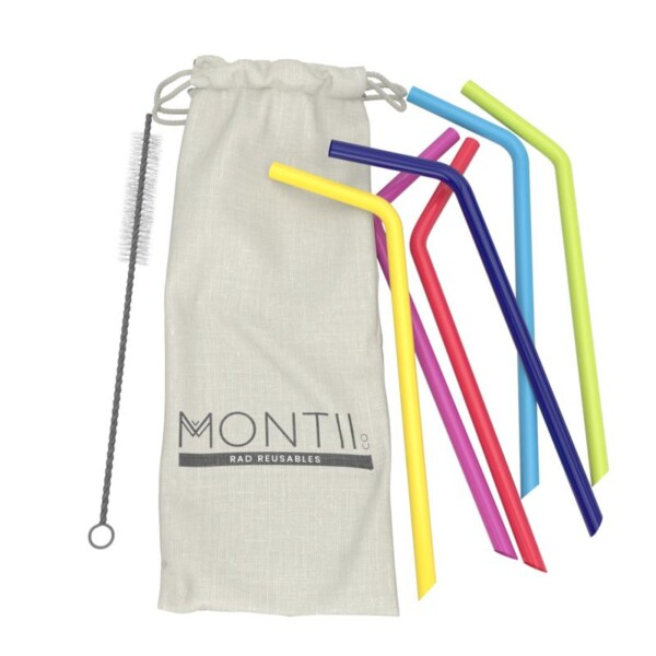 reusable silicone straws and cloth bag