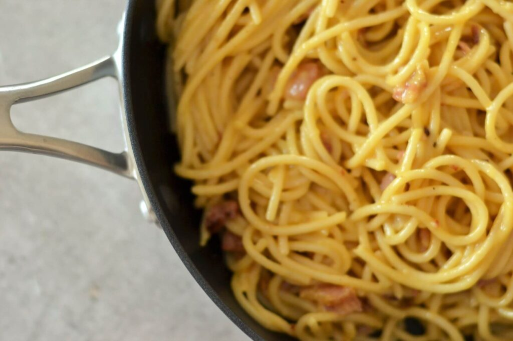 top-view-of-pan-containing-finished-pasta