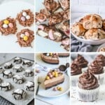 a grid of images with finished chocolate and easter recipes