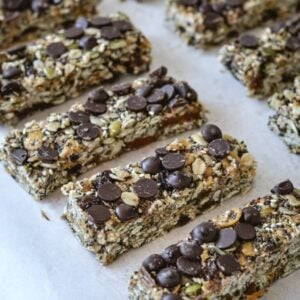 line of granola bars covered in chocolate chips