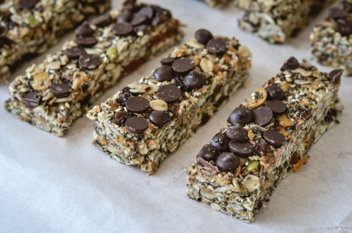 muesli bars with chocolate chips on baking paper