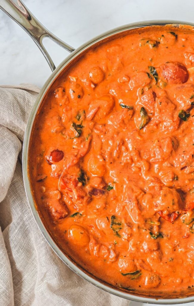 top view of pasta sauce with tomatoes