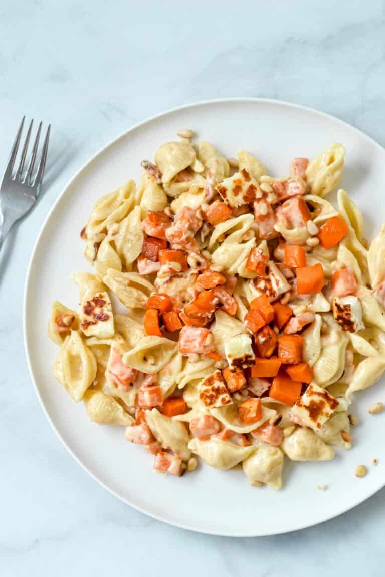 creamy-sweet-potato-pasta-on-plate