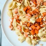 sweet-potato-pasta-with-cream-sauce-on-plate