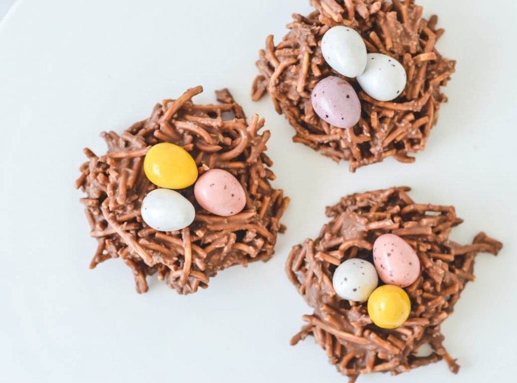 chocolate-nests-on-white-tray