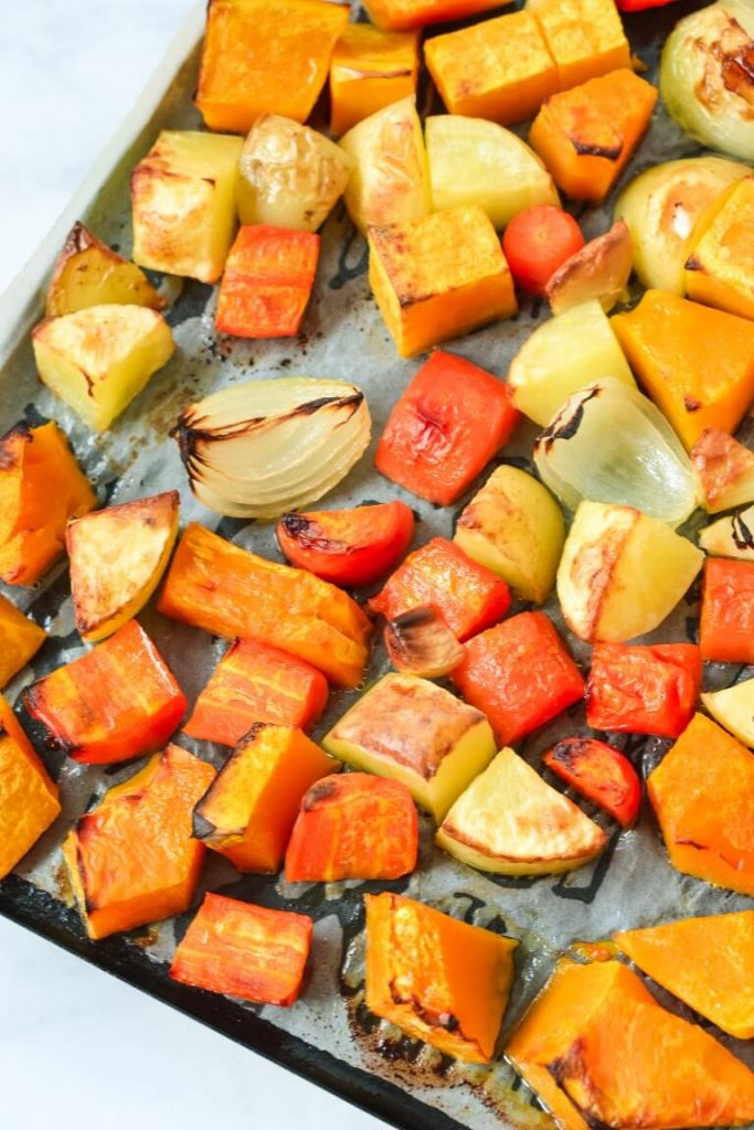 roasted-pumpkin-and-vegetables-on-baking-tray