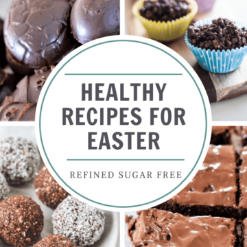 squares containing different types of food with heading 'healthy recipes for easter'