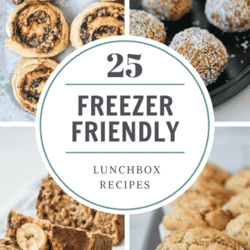 a close up of different types of food with the title '25 freezer friendly lunchbox recipes'