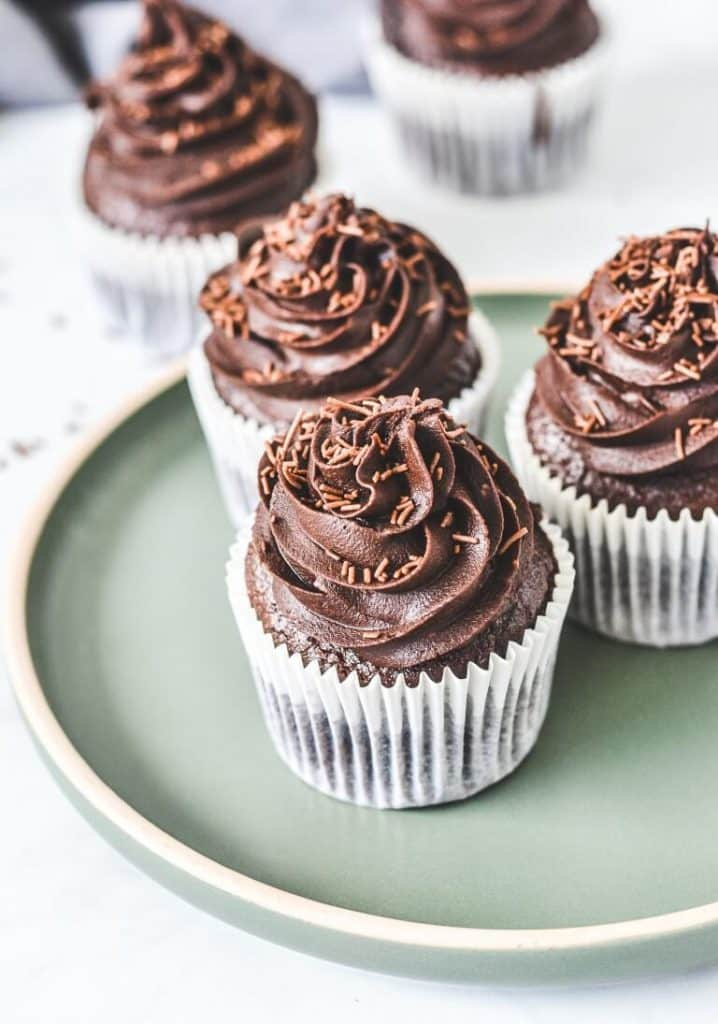 chocolate-cupcakes-on-green-plate