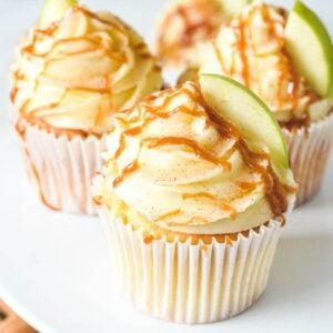 cupcakes-topped-with-caramel-on-white-stand
