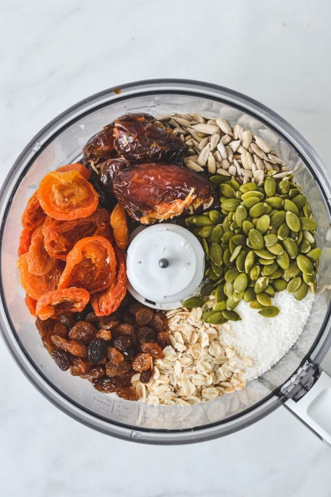 top view of different foods in a food processor