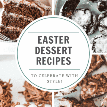 squares containing different foods with heading 'easter dessert recipes'