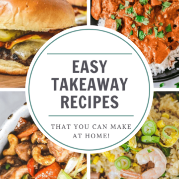 squares containing different types of food with title 'easy takeaway recipes'