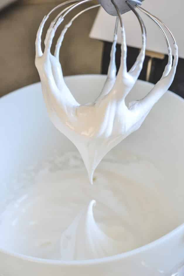 meringue peaks hanging from beater