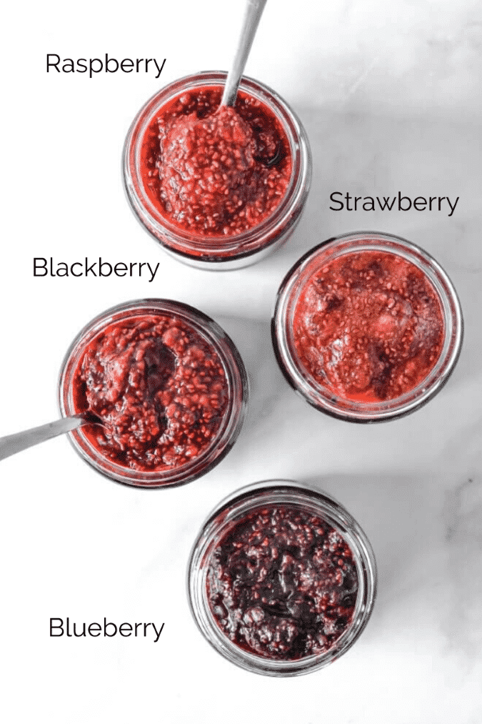 top view of different jams in jars with descriptive labels