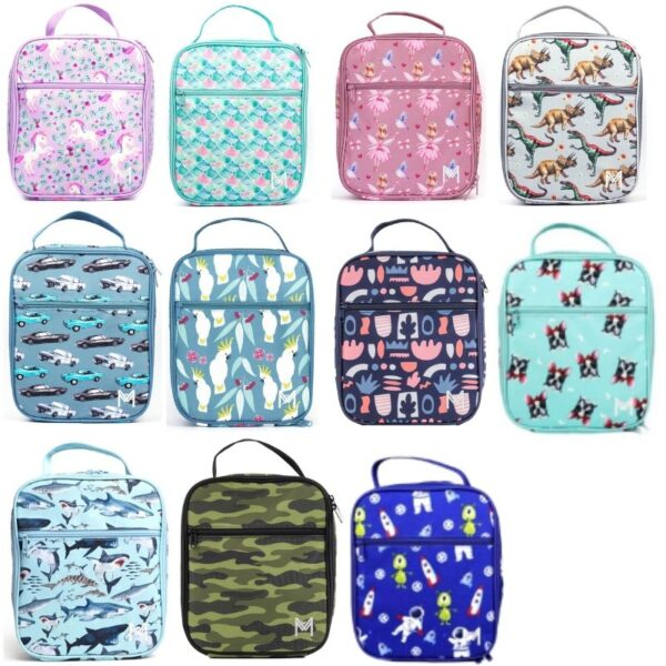 a close up of insulated lunchboxes with different patterns