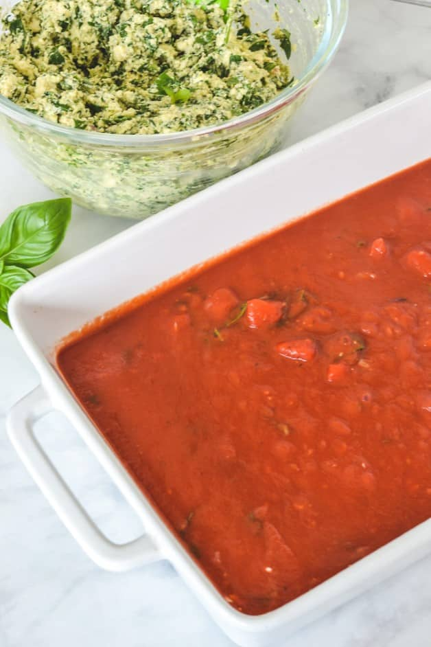 top view of tomato sauce in white baking dish
