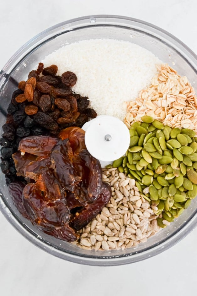top view of ingredients layered in a food processor