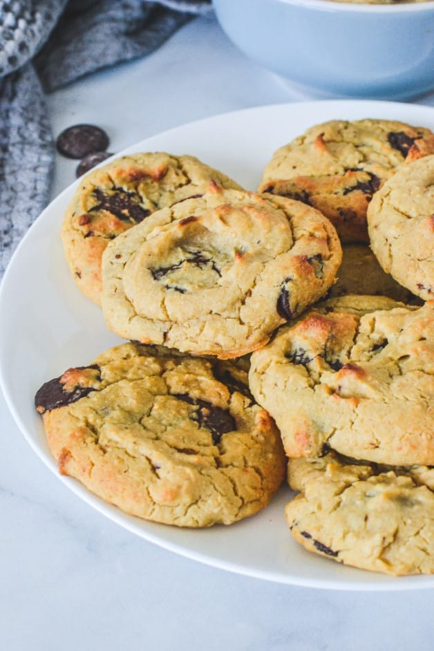 white plate with chocolate chip cookies