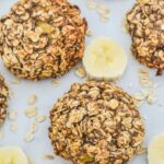 top view of oat cookies with slices of banana