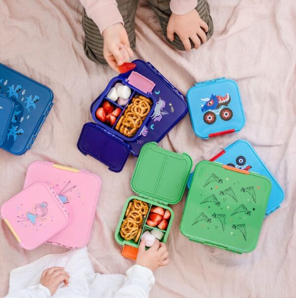 top view of lunchboxes in different sizes and colours