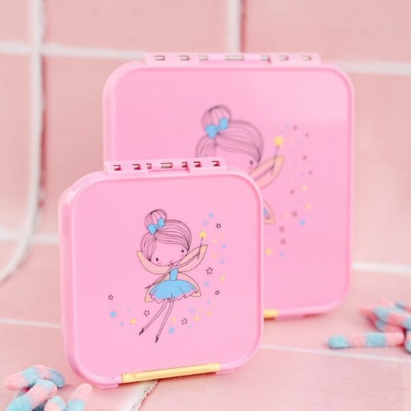 front view of two pink lunchboxes with a pink background