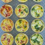 top view of finished quiches on wire rack