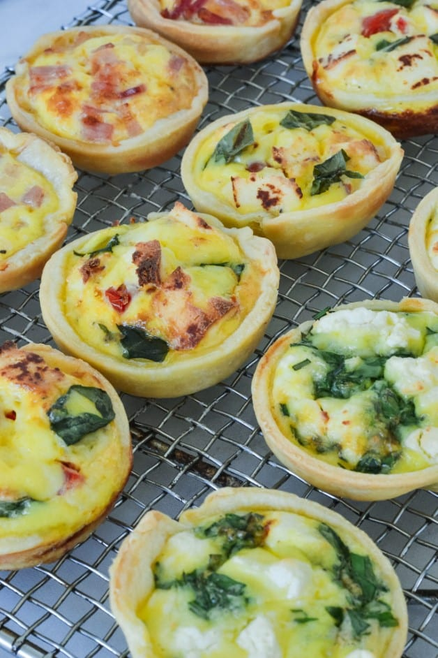 finished quiches on wire rack