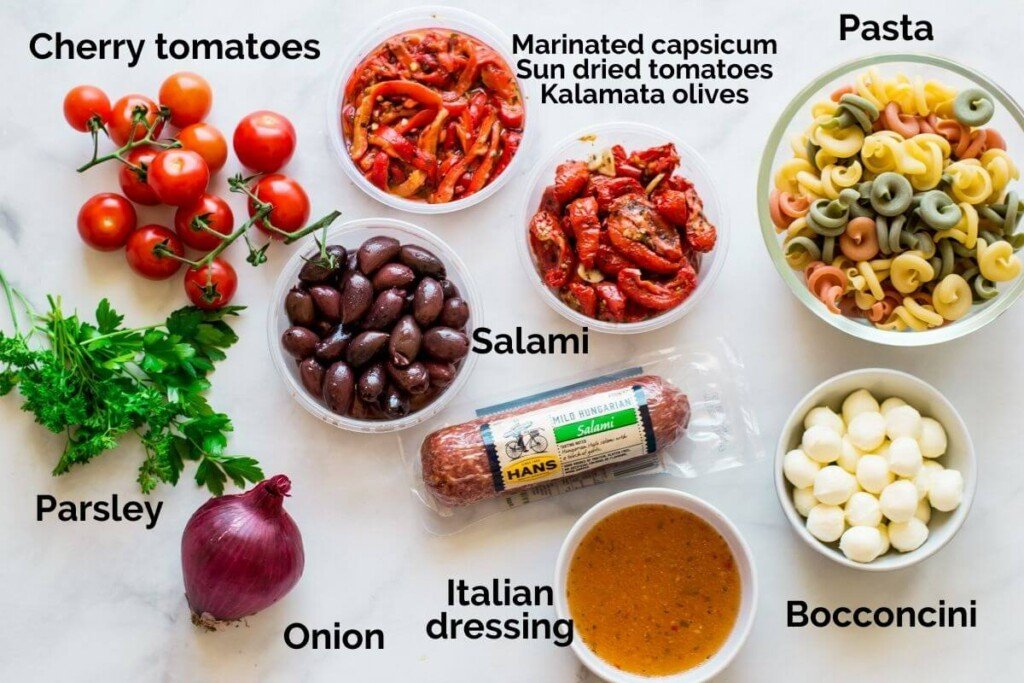top view of all ingredients with descriptive labels