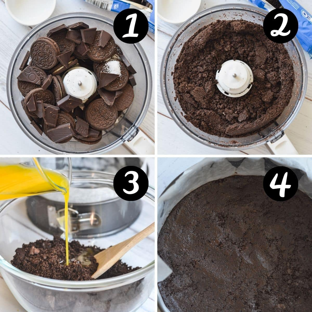 images of cookies in a food processor and the steps to make the cheesecake base