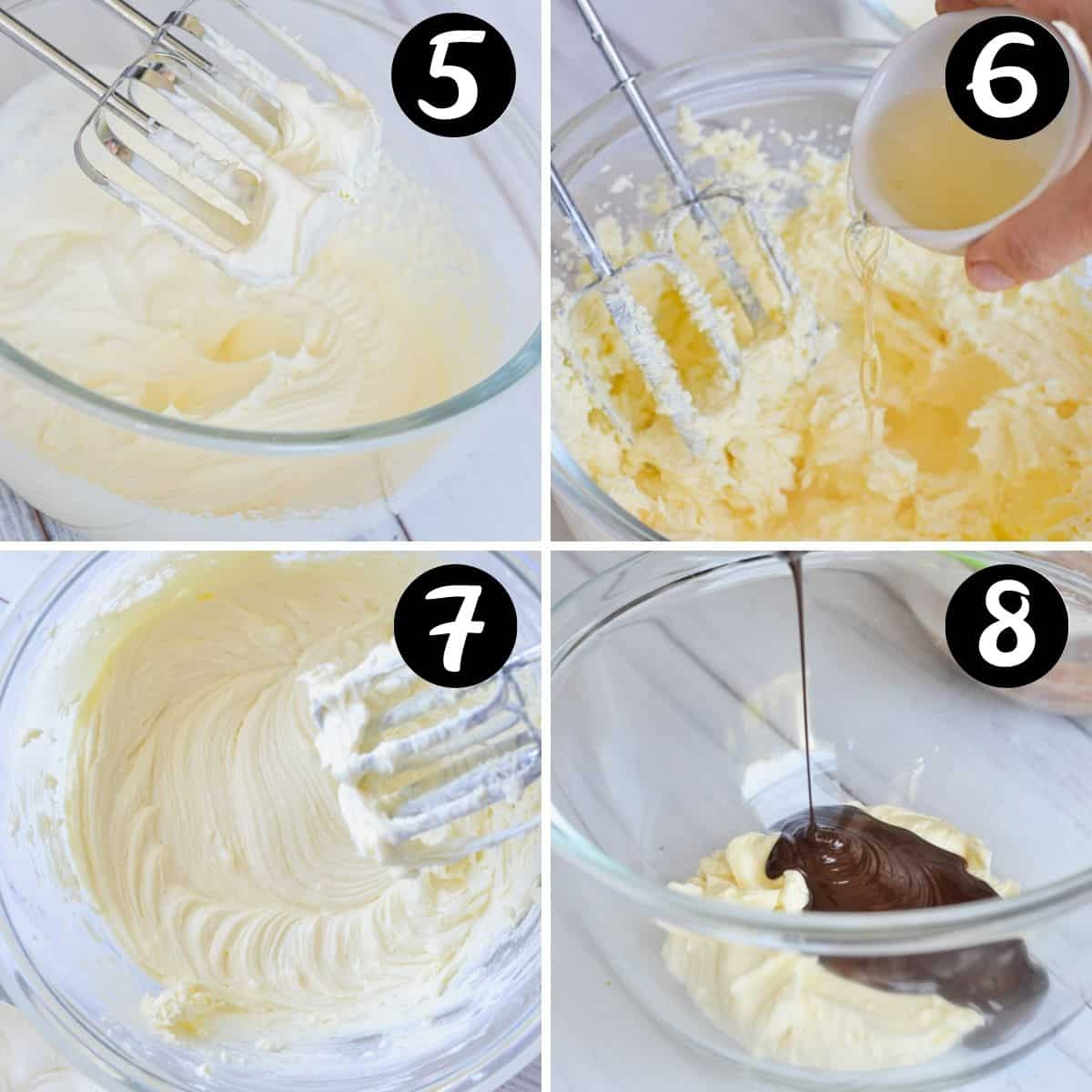 steps showing cream cheese and mascarpone filling being prepared in a glass bowl with melted chocolate