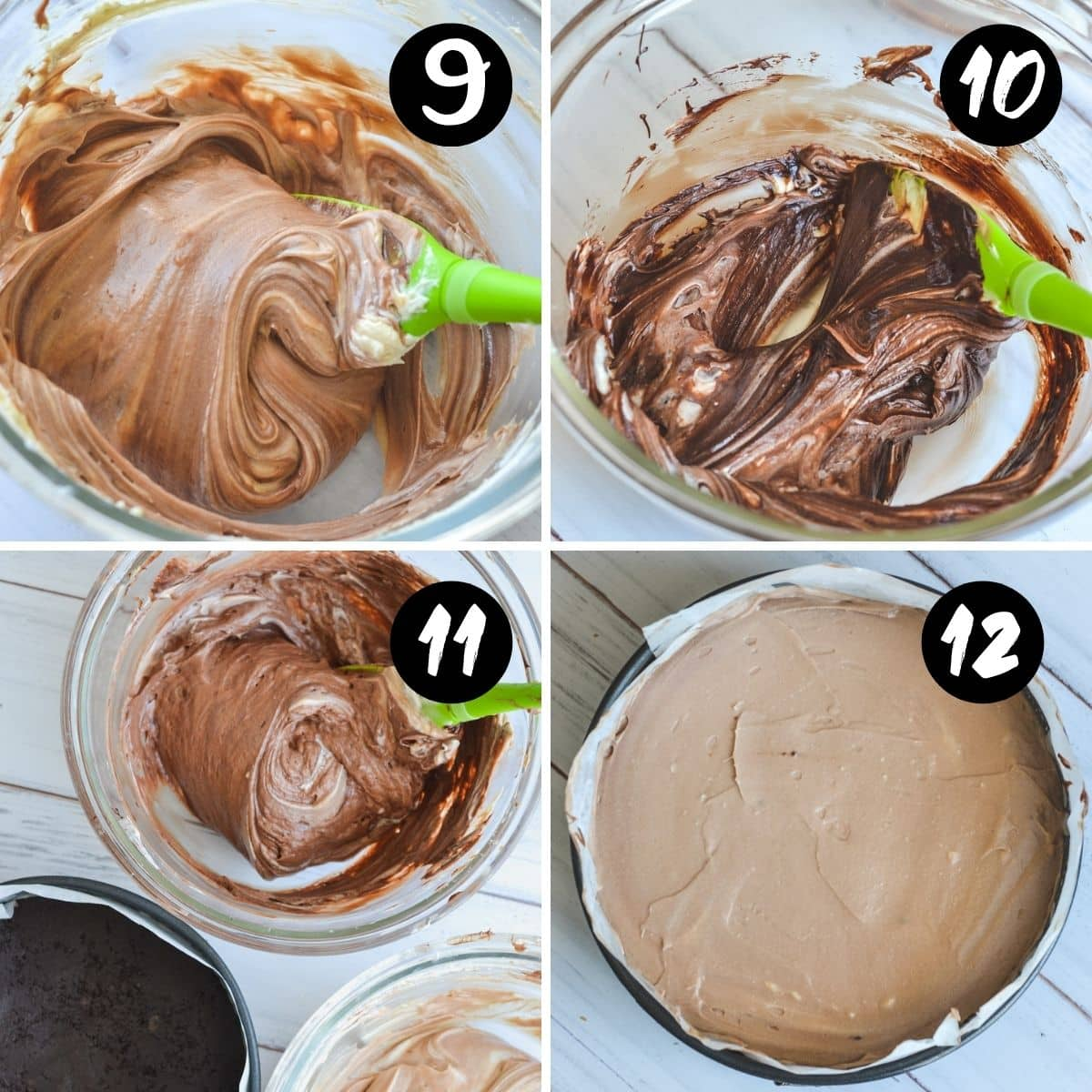 steps showing a spatula folding melted chocolate into cream cheese filling in a glass bowl.