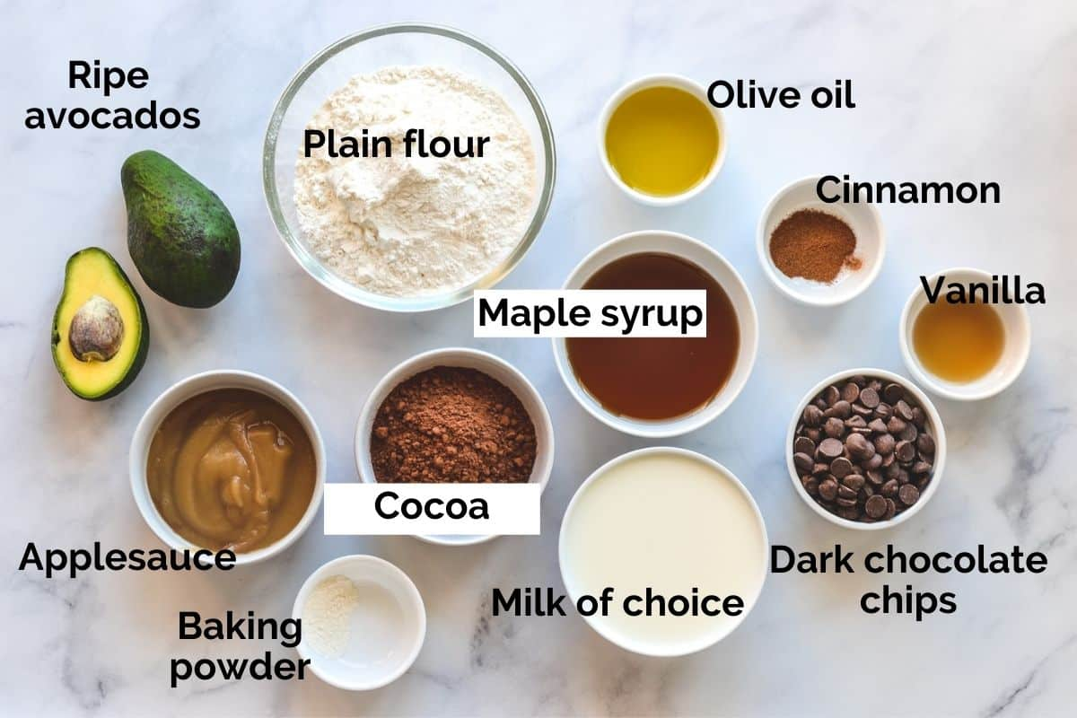 all ingredients for chocolate avocado muffins laid out on a table