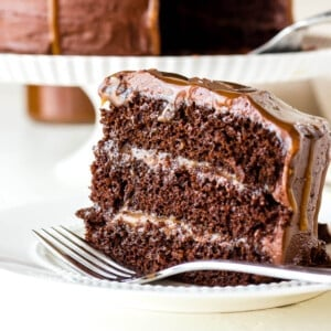 a finished chocolate layer cake on a white plate with salted caramel sauce and frosting