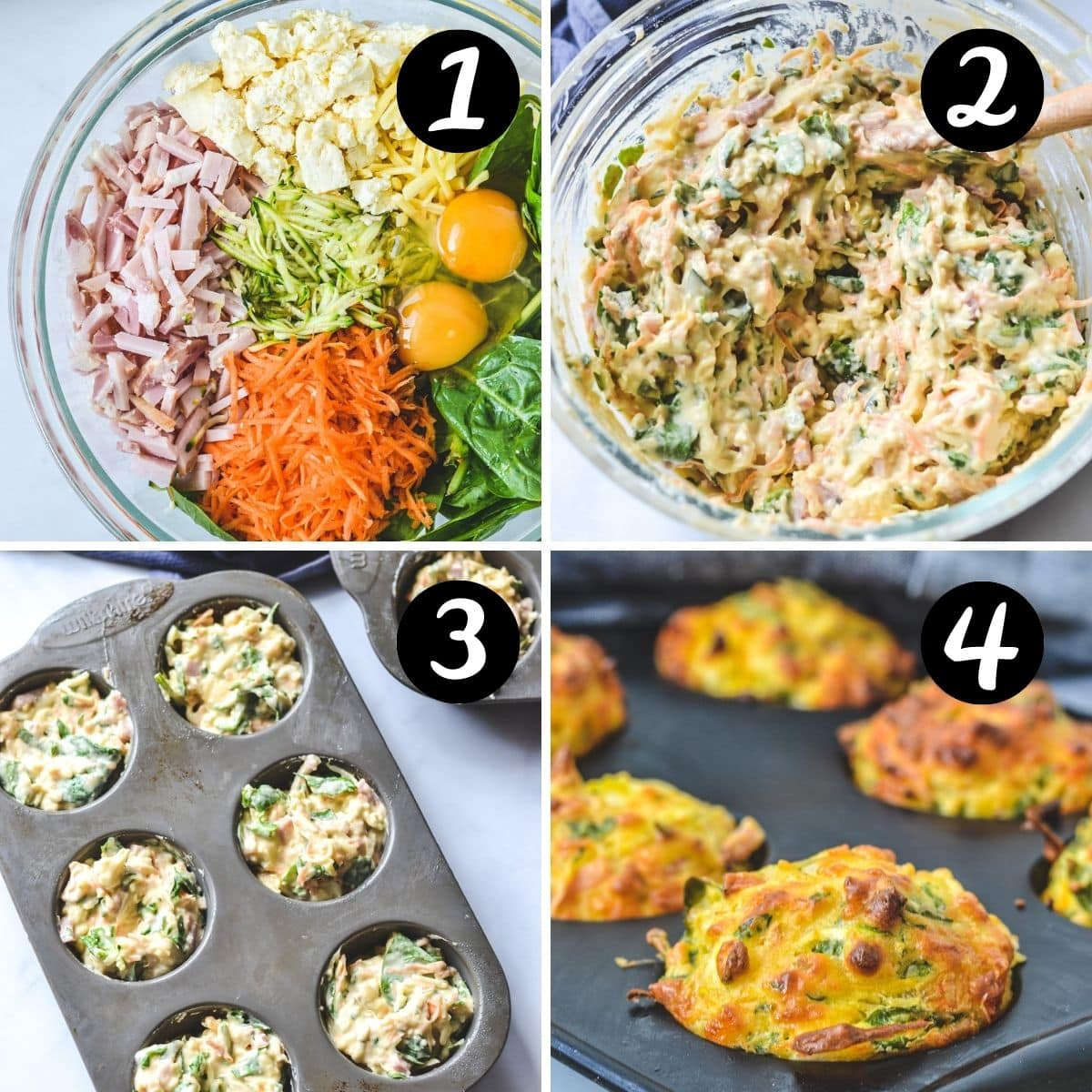 a collage of step by step photos showing vegetable muffins in a mixing bowl and being added to a muffin tray