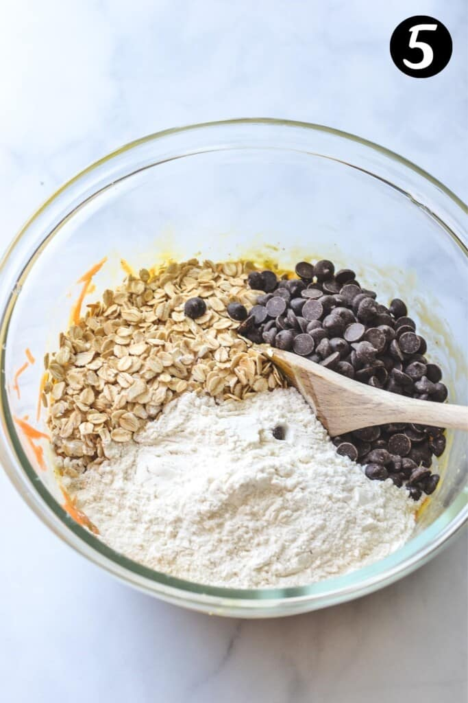 dry ingredients in a glass mixing bowl