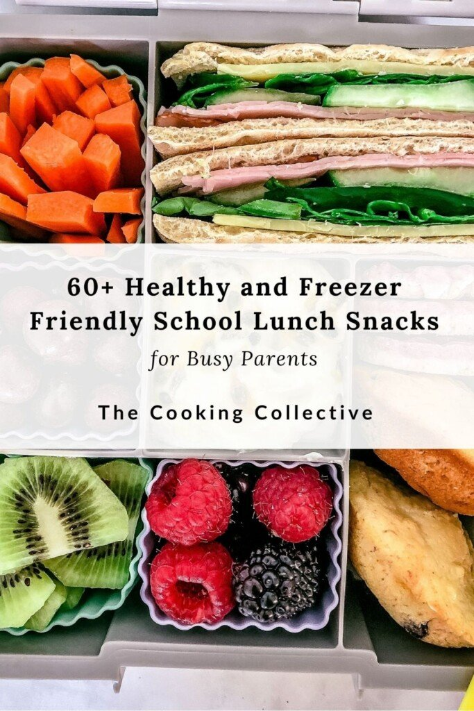 ebook cover titled 'healthy and freezer friendly school lunch snacks' with a photo of healthy foods