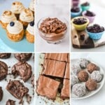 grid of healthy easter foods including cupcakes and slice