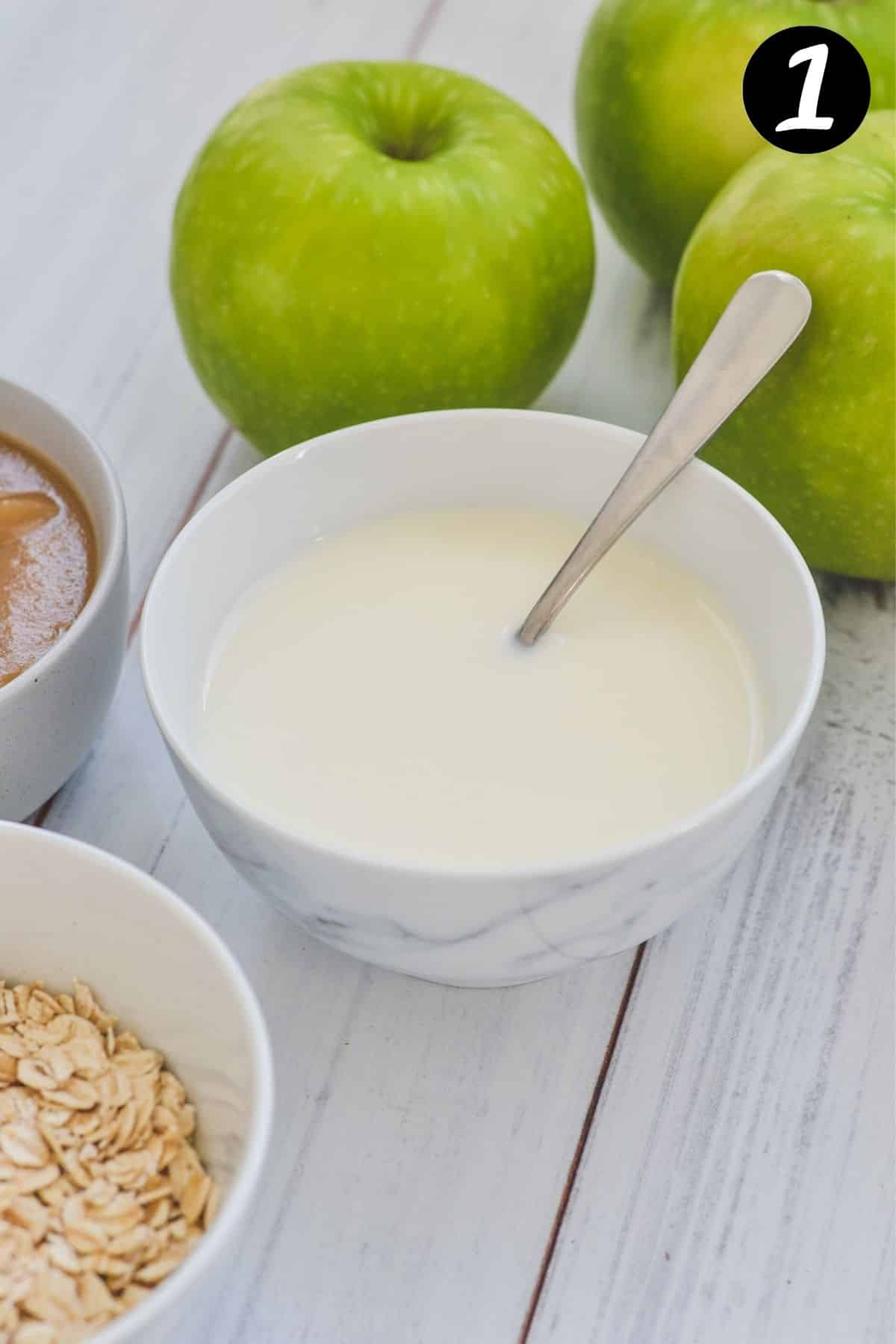 milk in a white bowl