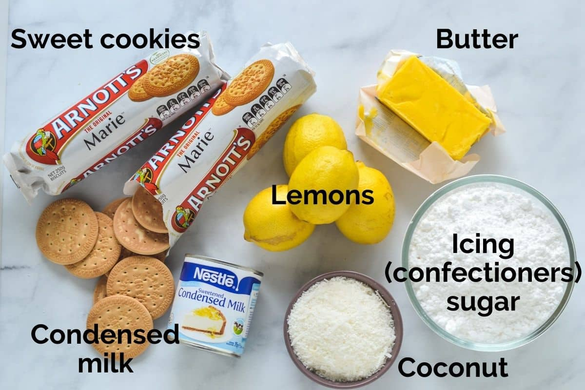 all ingredients for lemon coconut slice laid out on a table