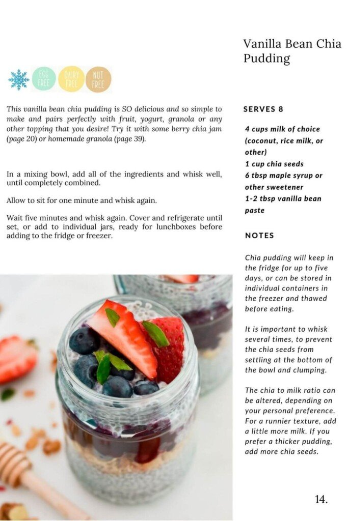 image of chia pudding in a jar with a recipe and instructions