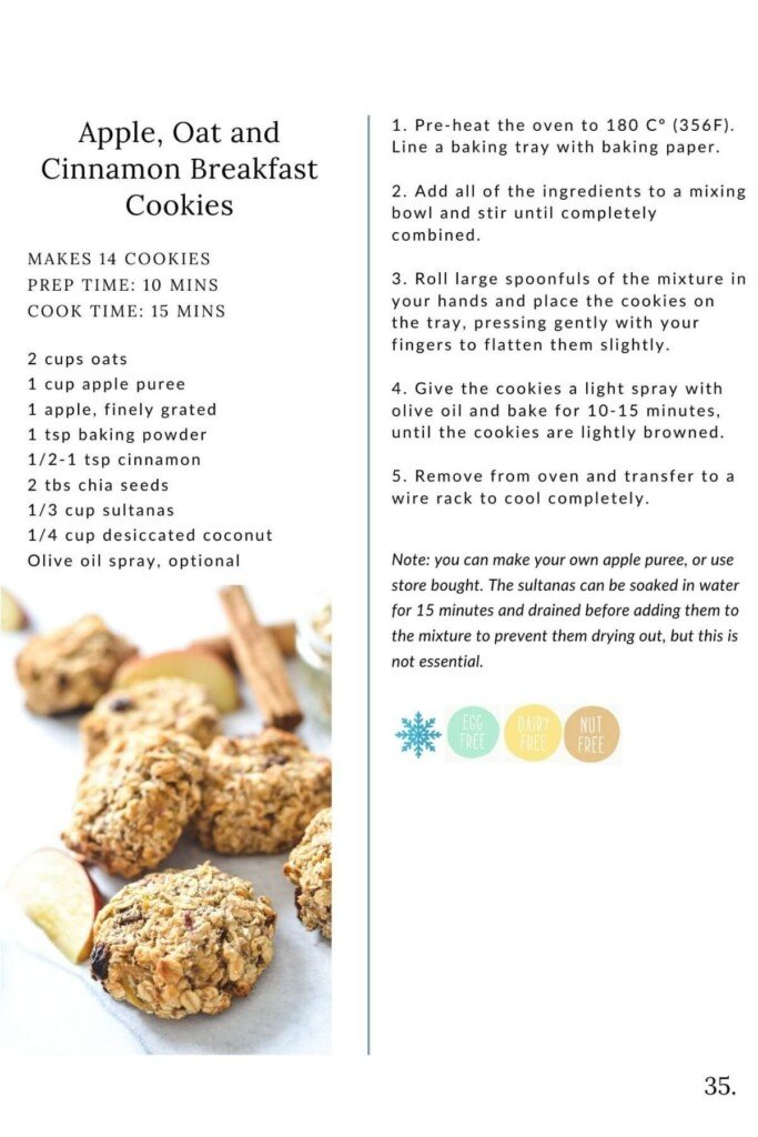 a pile of cookies with a list of ingredients and instructions