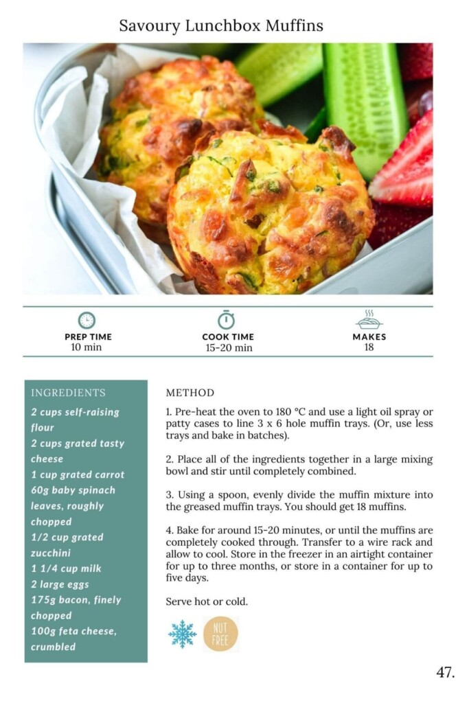 muffins in a lunchbox with a list of ingredients and instructions for muffins