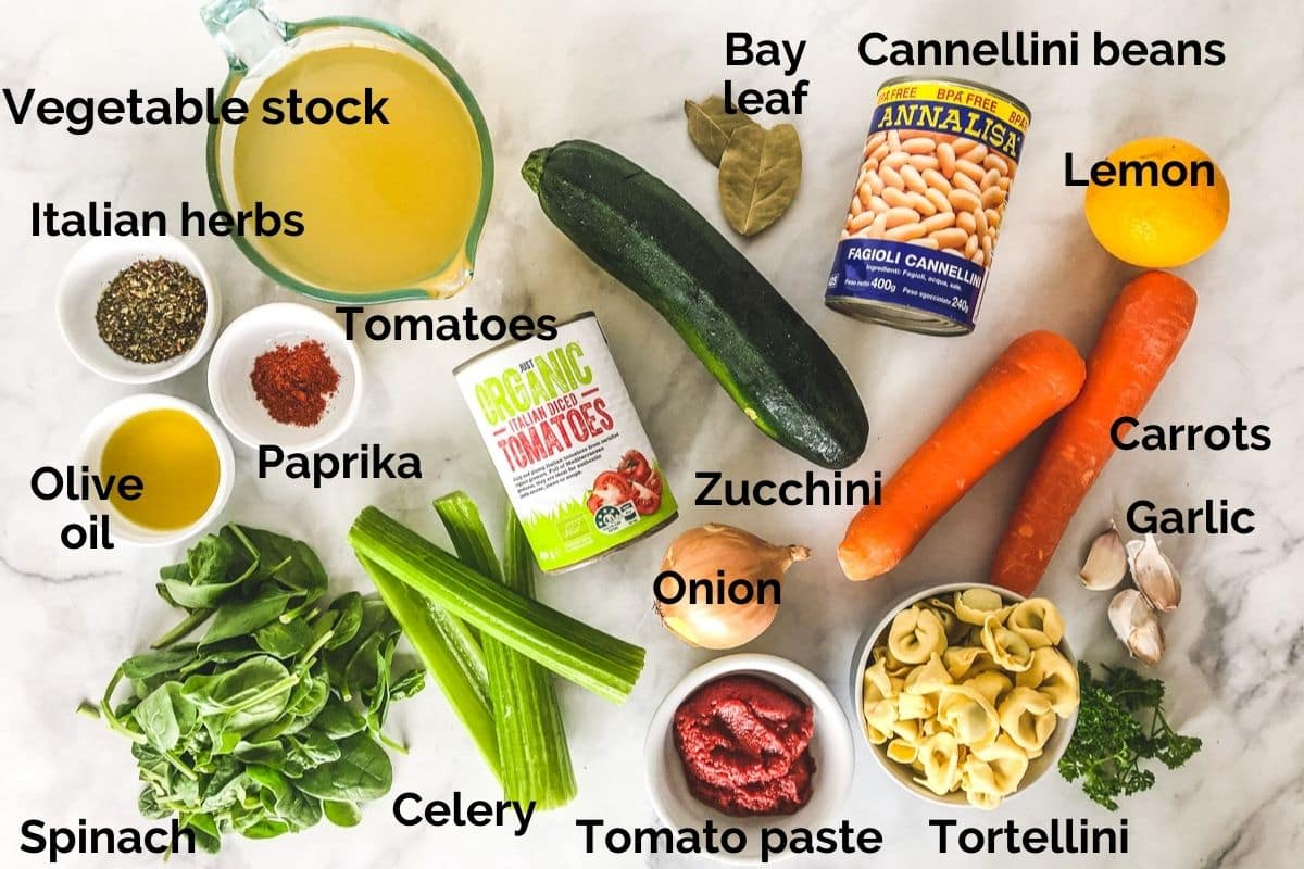all ingredients for vegetarian tortellini soup, laid out on a table