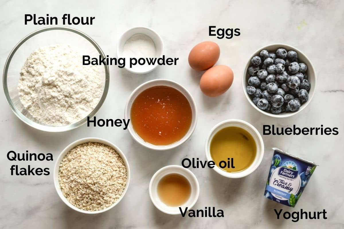 all ingredients for healthy cupcakes laid out on a table