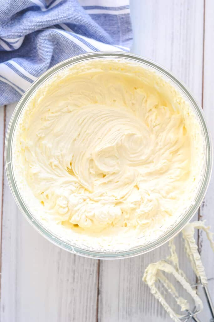 whipped cream in a glass bowl