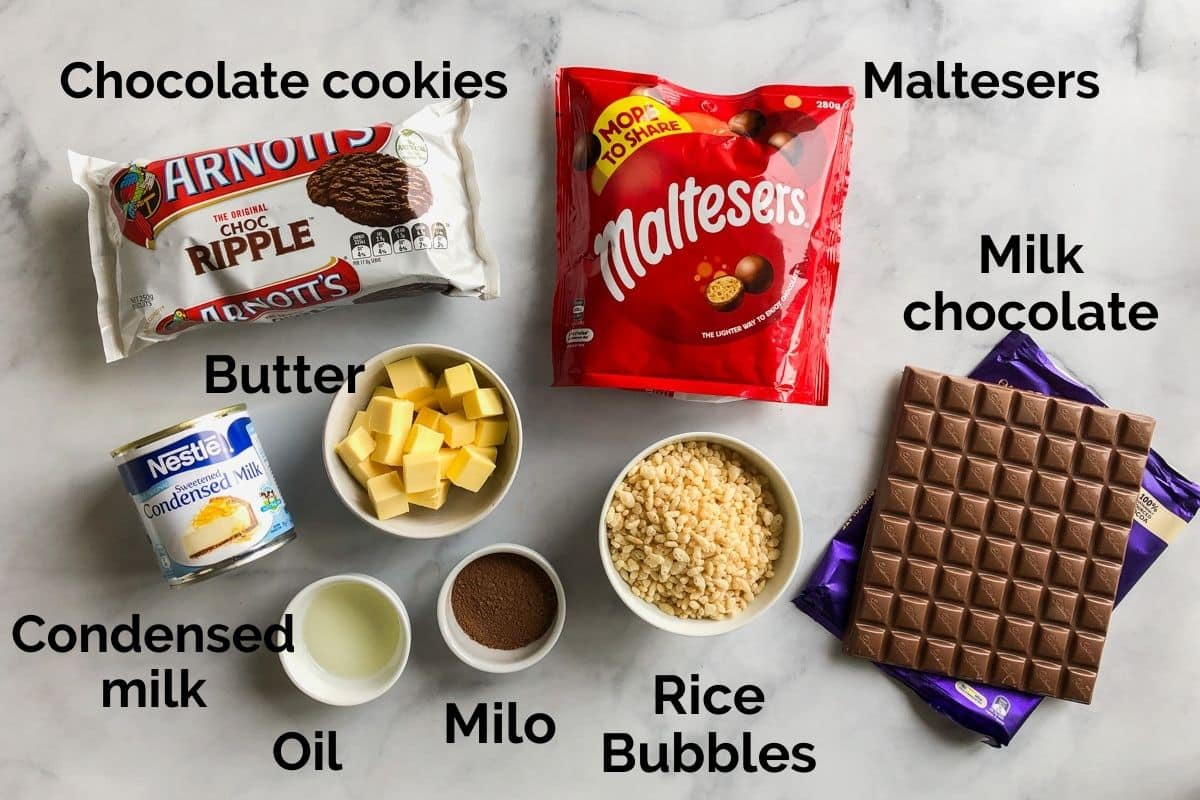 all ingredients for malteser slice laid out on a table